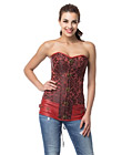 Red Jacquard Long Line Corset