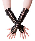 Wetlook Lace Up Gloves Black