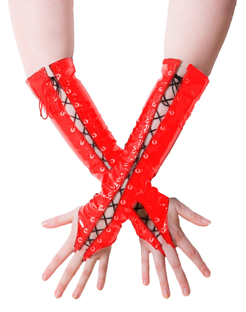 Wetlook Lace Up Gloves Red