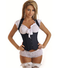 Black Denim Underbust Corset