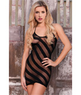 Diagonal Stripes Nylon Mini Dress