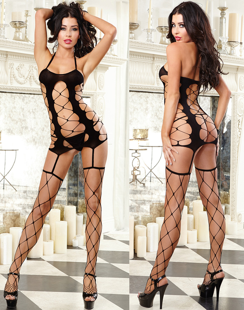 Sexy Strappy Fishnet Bodystocking