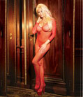 Long Sleeve Fishnet Bodystocking Red
