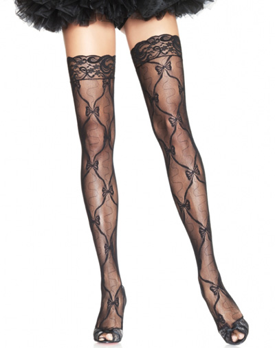 Bow Lace Thigh High with Lace Top
