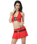 Halter Vest With Mini Skirt Red