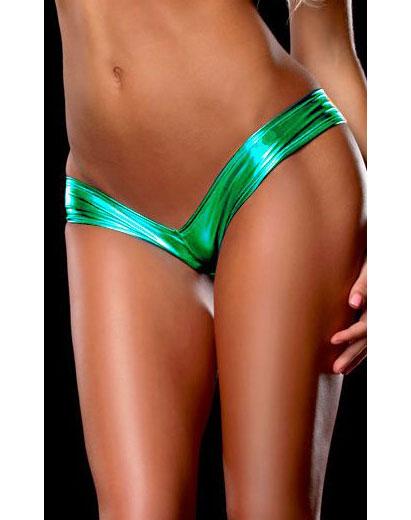 Metallic Micro Shorts Panty Thong Green