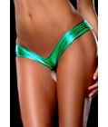 Metallic Micro Shorts Panty Thong Green