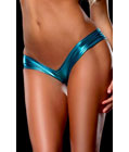Metallic Micro Shorts Panty Thong Blue