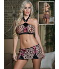 Passionate Panther Bra and Skirt Set Brown