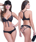Strappy Lace Bra and Panty Set Black