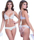 Strappy Lace Bra and Panty Set White
