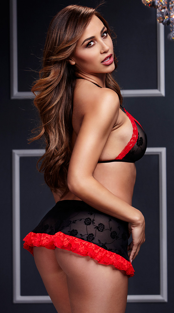 BLACK AND RED BRA TOP WITH LACE-UP SKIRT