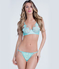 Eyelash Lace Underwire Bra Sets Blue
