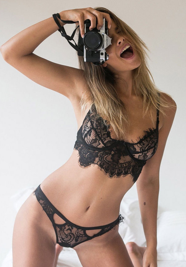 Black Lace & Mesh Bra Top Sets