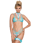 Strappy Bra & Panty Lingerie Set Blue