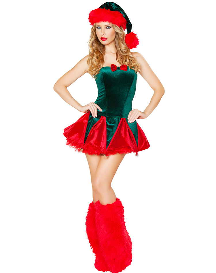 Naughty Elf Costume With Leg Warmers