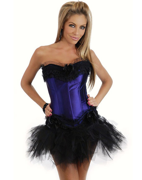 Corset with Mini Skirt Blue