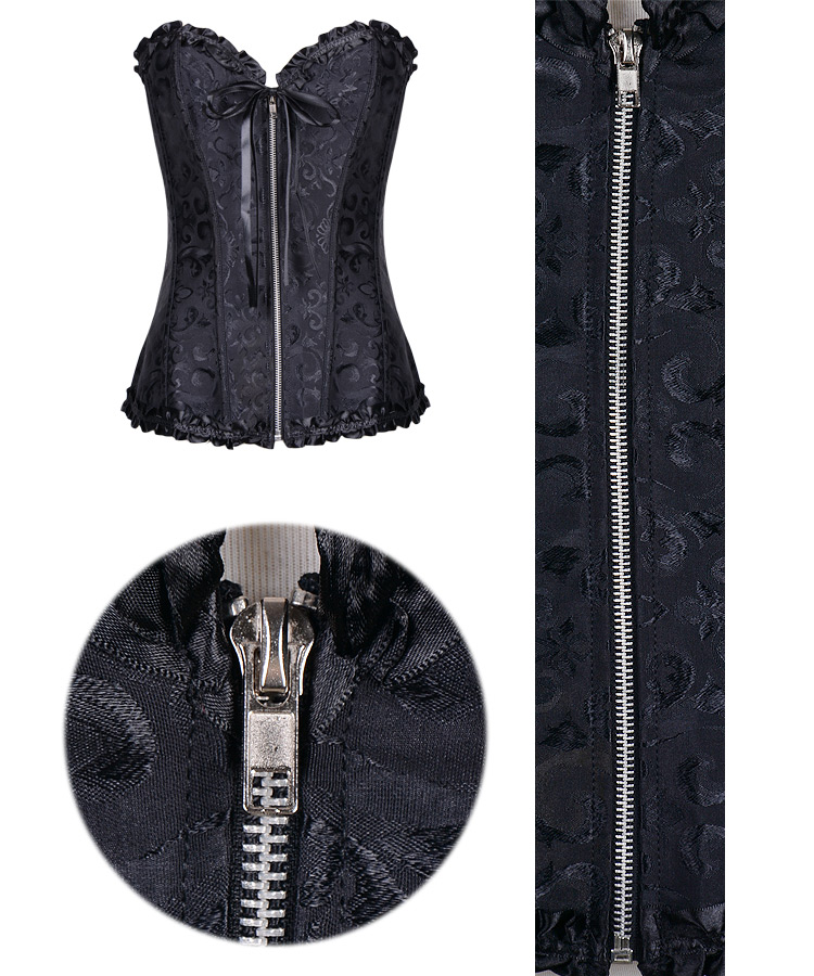 Gothic Brocade Corset Black With Zipper Front