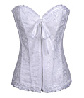 Gothic Brocade Corset White With Zipper Front