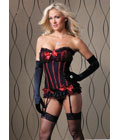 Embroidered Top Red Trimmed Corset