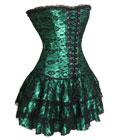 Green Corset Bustier Mini Skirt