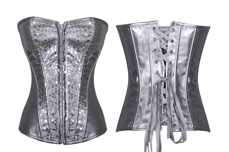 Silver Zipper Burlesque Corset