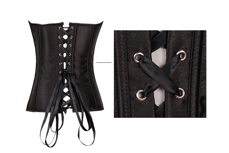 Classic Satin Corset With Zipper Front