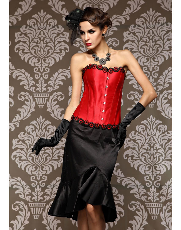 Beauty Floral Trimmed Corset Red
