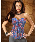 Front Zipper Denim Corset Blue
