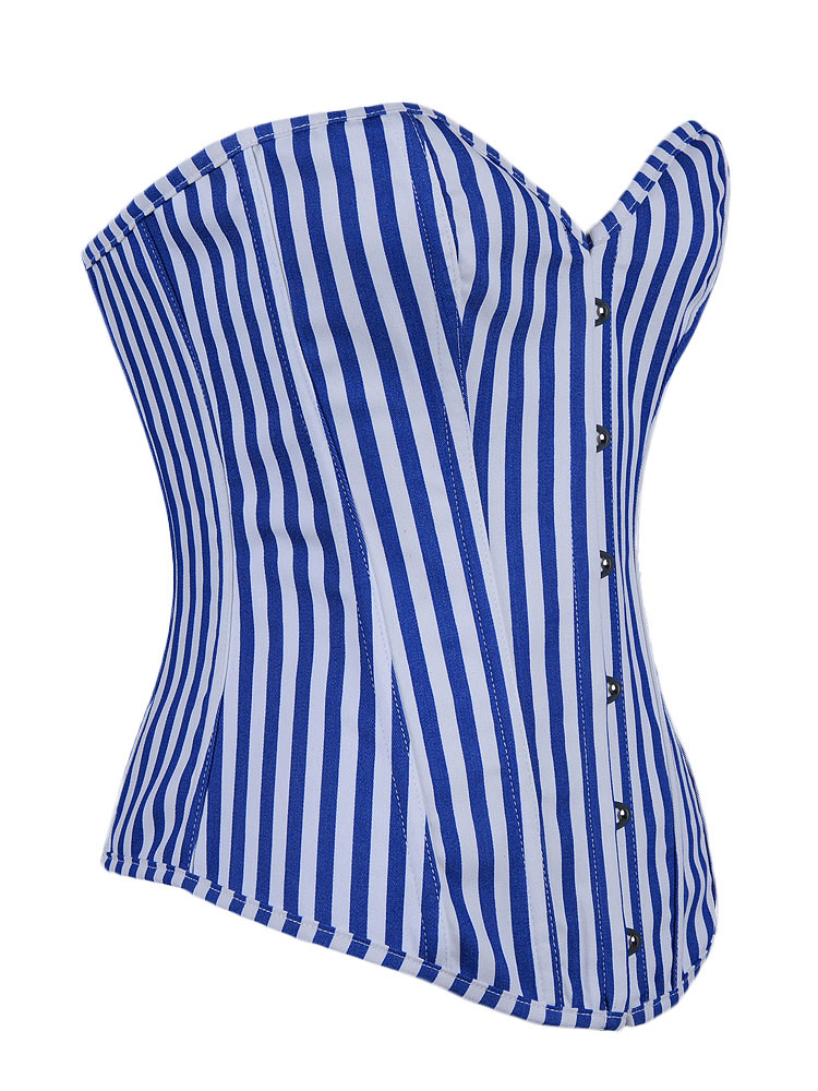 Blue and White Pinstripe Corset