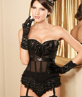 Sequin Halter Top Corset Black