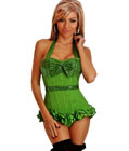 Sequin Halter Top Corset Green