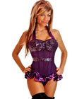 Sequin Halter Top Corset Purple