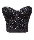 Rhinestone Cover Bustier Top Black