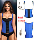 Latex Rubbber Steel Boned Body Shaper Blue