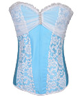 Hot Lady Bridal Satin Corset Blue