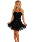 Lace Overlay Corset Dress Black