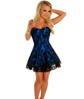 Lace Overlay Corset Dress Blue