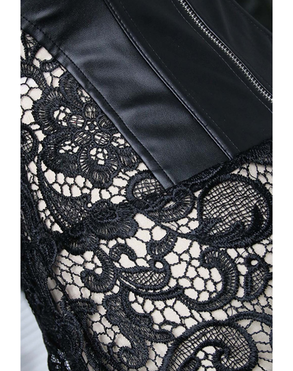 Faux Leather Shoulder Strap Corset with Lace Skirt