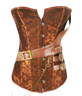 Brown Brocade Belt Steampunk Overbust Corset