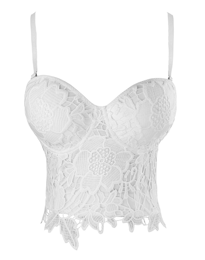 Goth Floral Lace Bustier White