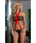 Mesh & Bow Front With G-string Black