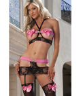 Black & Pink Juicy Set and Stockings