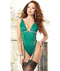 Boudoir Lace Gartered Teddy Green