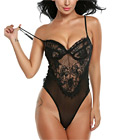 Eyelash Lace Teddy With Mesh Black