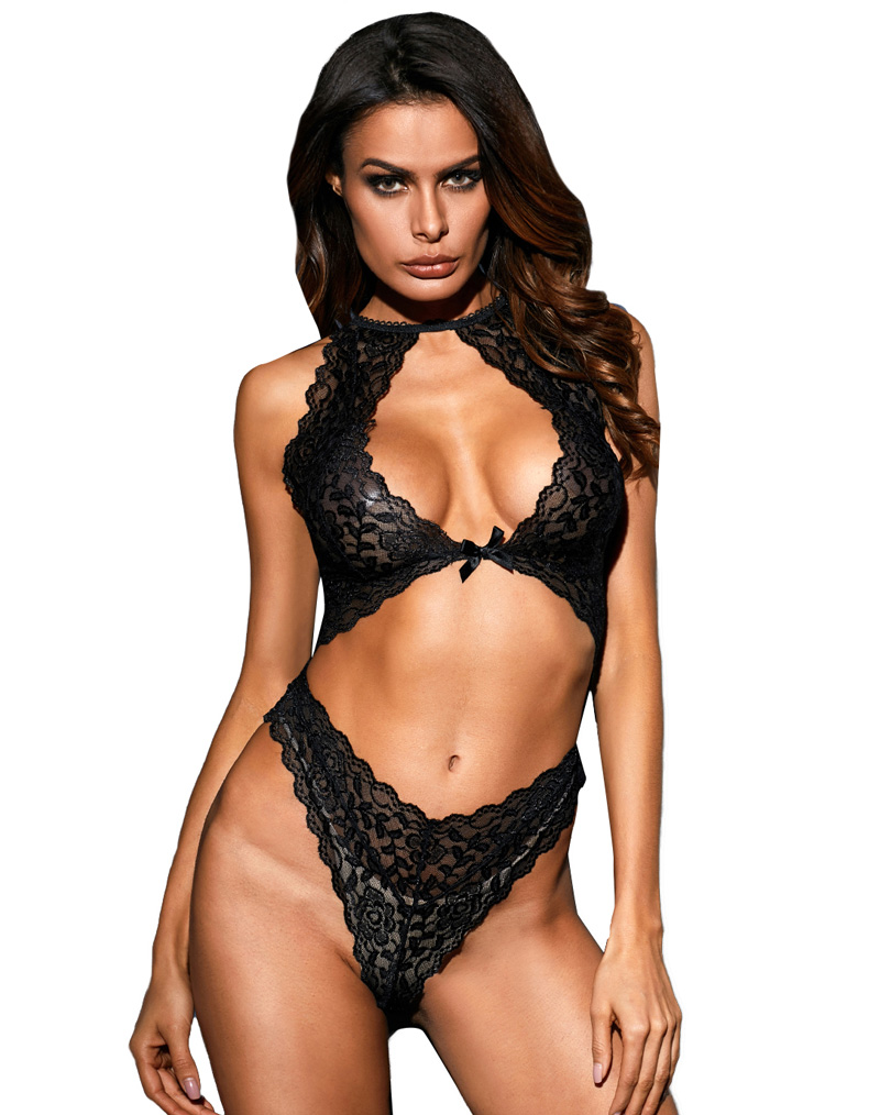 Cut out Lace Teddy Black