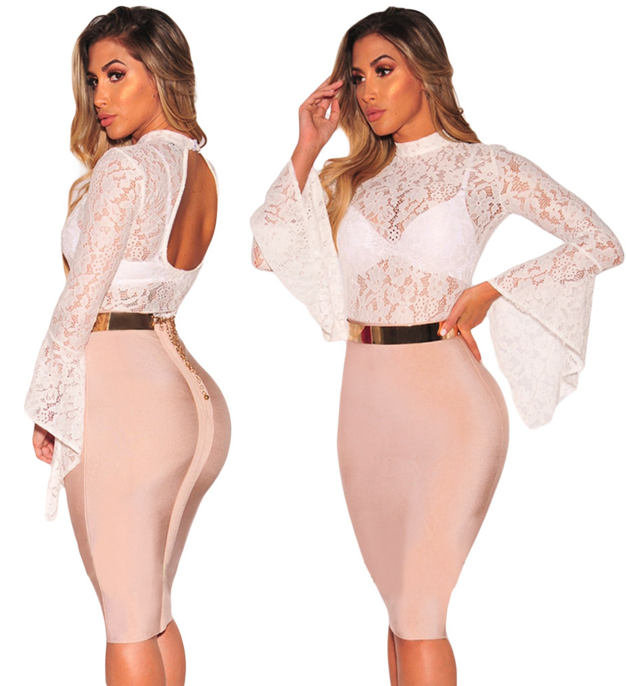Floral Lace Long Sleeve Teddy White