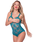 Open Cup Lace Teddy Blue