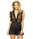 Lace and Chiffon Romper Black