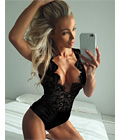 Eyelash Lace Deep V Teddy Black